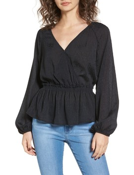 Faux Wrap Peplum Top by Leith