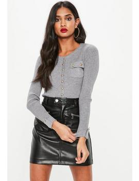 Grey Button Front Pocket Knitted Jumper by Missguided