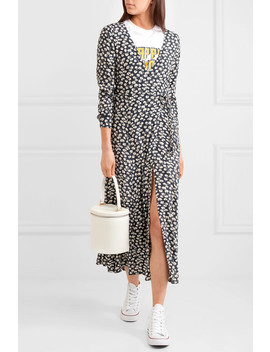 Roseburg Printed Crepe De Chine Wrap Dress by Ganni