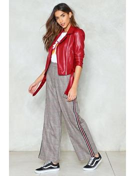 Side Stripe Wide Leg Check Pants by Nasty Gal