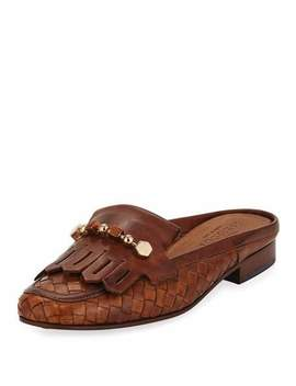 Murry Woven Flat Slide Mule, Brown by Sesto Meucci