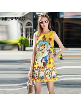 New 2017 Autumn Fashion Runway Designer Dress Women's Sleeveless Beading Jacquard Floral Print Virgin Mary Vintage Dress by Miuximao Official Store