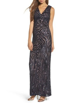 Sequin Double V Neck Gown by Morgan & Co.
