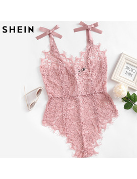 Shein Ribbon Tie Shoulder See Though Floral Lace Bodysuit Ladies Sexy Bodysuit Pink Sleeveless V Neck Cute Bodysuit by She In Official Store