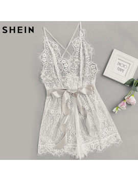 Shein Women's Pajamas Women Ribbon Tie Waist Plunging Lace Sleep Romper White Spaghetti Strap Sleeveless Sexy Loungewear by She In Official Store
