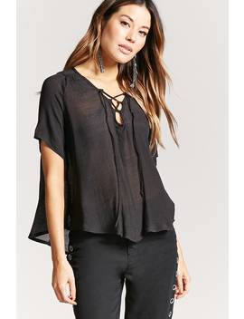 Sheer Lace Up Top by Forever 21