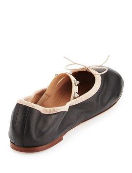 Rockstud Ballet Leather Ballerina Flat by Neiman Marcus