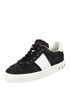 Glitter Strap Lace Up Sneaker by Valentino Garavani