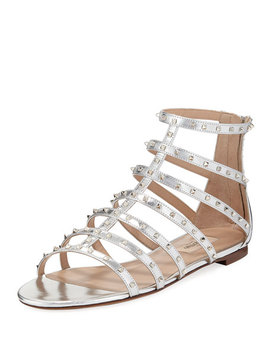 Lovestuds Caged Metallic Flat Sandal by Valentino Garavani