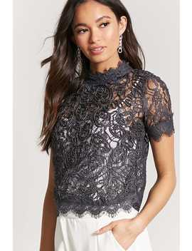 Eyelash Lace Trim Top by Forever 21