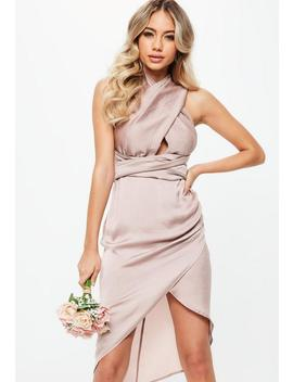 Bridesmaid Pink Satin Multiway Midi Dress by Missguided