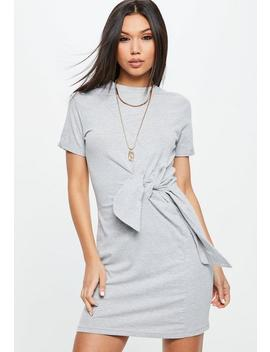 Grey Jersey Round Neck Tie Front Shift Dress by Missguided