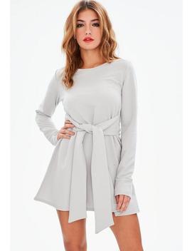Grey Tie Waist Sweater Dress by Missguided