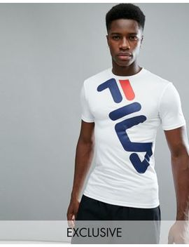 Fila Black Line Compression T Shirt With Large Logo In White by Fila Vintage
