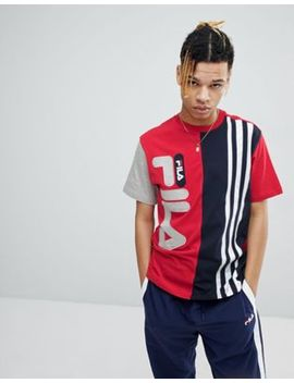 Fila Black Line T Shirt With Contrast Stripe Panel In Red by Fila