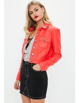 Red Faux Leather Trucker Jacket by Missguided