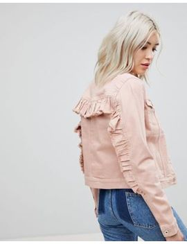 Only Colored Denim Jacket With Ruffle Sleeve by Only