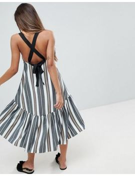 Asos Drop Hem Midi Trapeze Sundress In Stripe by Asos Collection