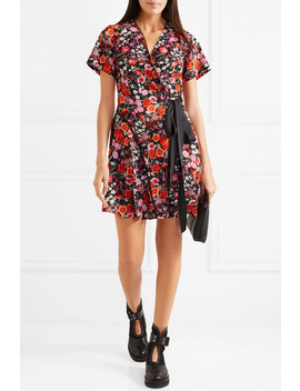 Lace Trimmed Floral Print Crepe De Chine Wrap Mini Dress by Goen J