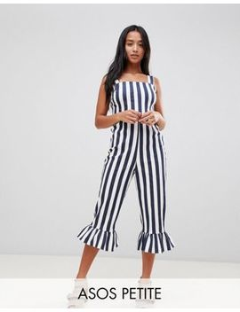 Asos Design Petite Stripe Pinny Jumpsuit With Frill Hem by Asos Design