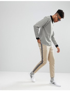 Asos Design Tall Tapered Cropped Heavyweight Pants With Side Stripe In Stone by Asos