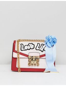 Aldo Top Handle Cross Body Bag With Love Life Embroidery by Aldo