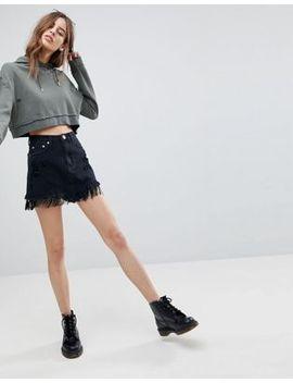 Signature 8 Denim Skirt With Fringe Hem by Skirt