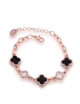 Rhinestone Flower Design Chain Bracelet by Sheinside