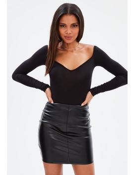 Black Sweetheart Neck Long Sleeve Bodysuit by Missguided