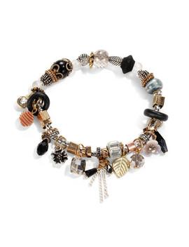 Leaf & Crystal Design Charm Bracelet by Sheinside