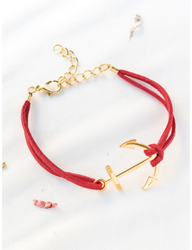 Red Anchor And Chain Detail Bracelet by Sheinside