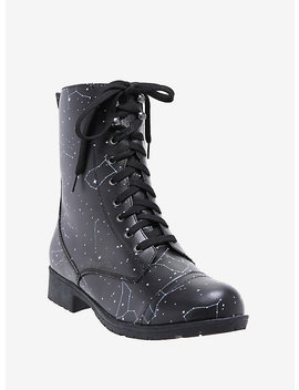 Constellation Print Combat Boots by Hot Topic