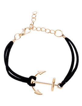 Black Anchor Charm Suede Bracelet by Sheinside