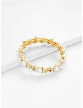 Faux Pearl Decorated Bangle Bracelet by Sheinside