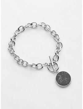 Round Charm Link Bracelet by Sheinside
