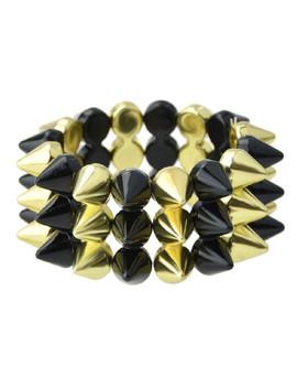 B Gold Spike Elastic Bangles And Bracelets by Sheinside