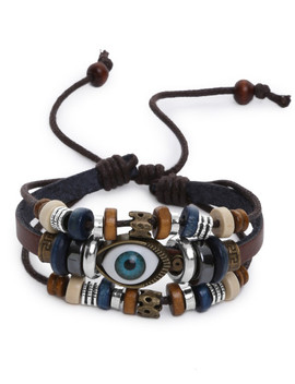 Eye Shaped Beaded Multilayer Bracelet by Sheinside