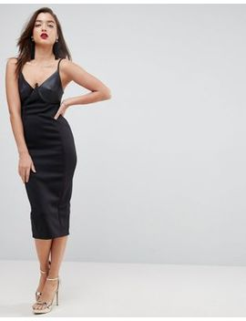Asos Pu Cupped Midi Bodycon Dress by Asos Collection