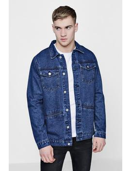 Button Front Denim Shacket by Boohoo