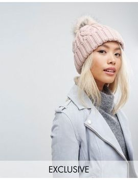 Stitch & Pieces Cable Pom Beanie In Blush Pink by Stitch & Pieces