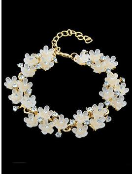 Apricot With Diamond Flower Bracelet by Sheinside