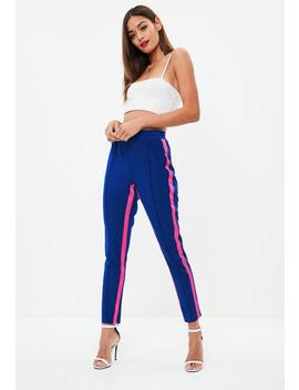 Blue Side Stripe Contrast Joggers by Missguided