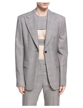 Plaid Worsted Wool Blazer by Calvin Klein 205 W39 Nyc
