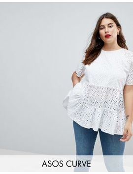 Asos Curve Smock Top In Broderie by Asos Curve