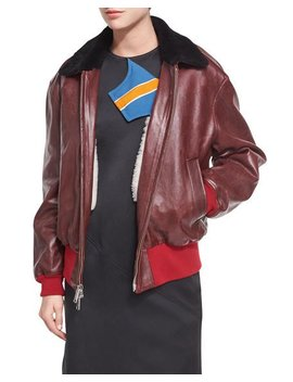 Leather Bomber Jacket With Shearling Lining by Calvin Klein 205 W39 Nyc