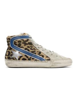 Multicolor Leopard Slide High Top Sneakers by Golden Goose