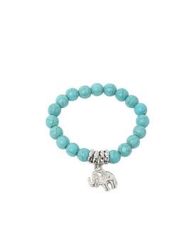 Turquoise Beads Silver Plated Elephant Bracelet by Sheinside
