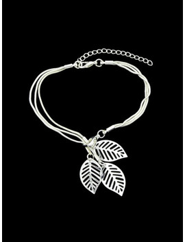 Silver Multi Layers Chain With Leaf Shape Charm Bracelets by Sheinside