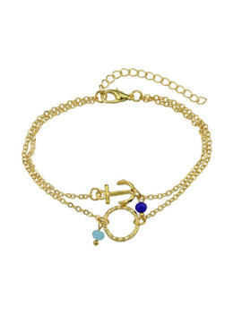Gold Multi Layers Chain With Anchor Round Shape Charm And Beads Bracelets by Sheinside