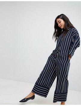 Monki Wide Leg Stripe Jumpsuit by Monki